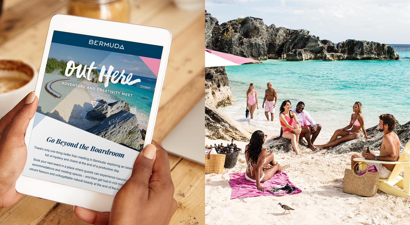 ipad mock up of Bermuda ad