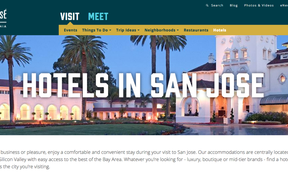 SanJose.org website - hotels page