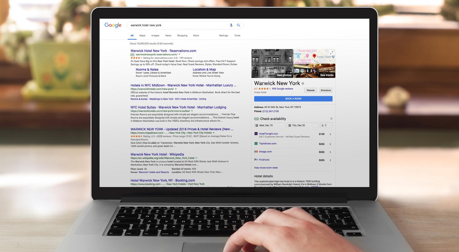 Warwick google page on computer